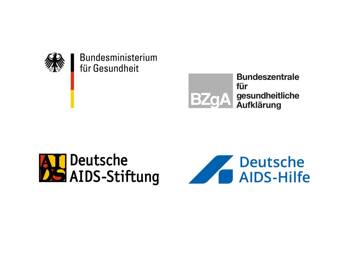 Die Partner Logos vom Welt-AIDS-Tag: Bundesministerium für Gesundheit, Bundeszentrale für gesundheitliche Aufklärung, Deutsche AIDS-Stiftung und Deutsch AIDS-Hilfe